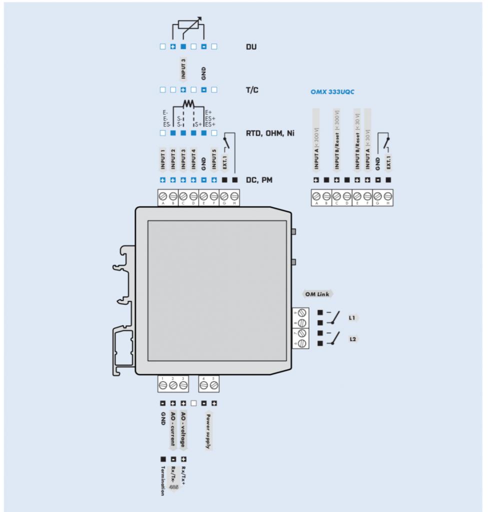 Sơ đồ đấu dây bộ Cách ly chống nhiễu OMX333UNI