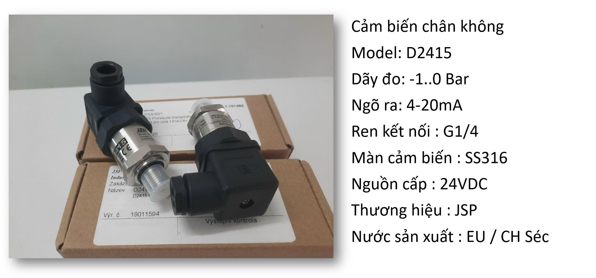 Thông tin cảm biến D2415 đo chân không